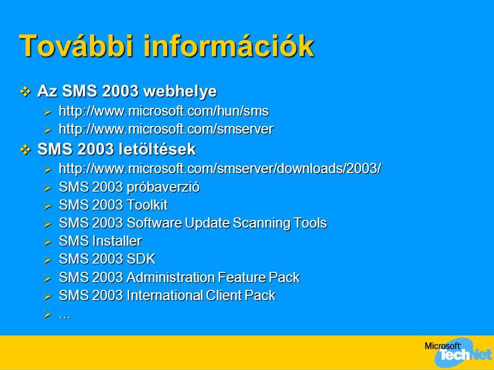 További információk  Az SMS 2003 webhelye  http://www.microsoft.com/hun/sms  http://www.microsoft.com/smserver  SMS 2003 letöltések  http://www.microsoft.com/smserver/downloads/2003/  SMS 2003 próbaverzió  SMS 2003 Toolkit  SMS 2003 Software Update Scanning Tools  SMS Installer  SMS 2003 SDK  SMS 2003 Administration Feature Pack  SMS 2003 International Client Pack ...