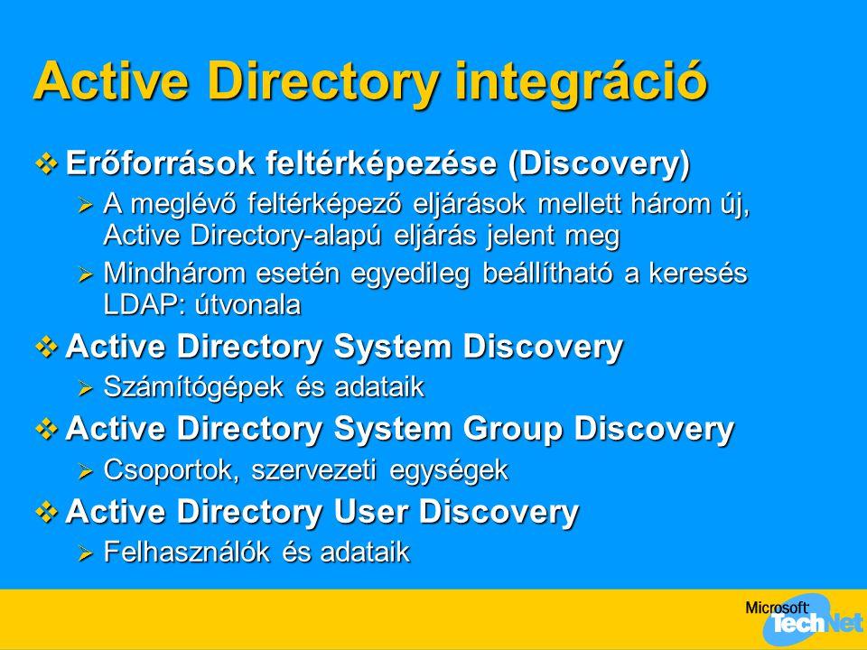 Active Directory integráció  Erőforrások feltérképezése (Discovery)  A meglévő feltérképező eljárások mellett három új, Active Directory-alapú eljárás jelent meg  Mindhárom esetén egyedileg beállítható a keresés LDAP: útvonala  Active Directory System Discovery  Számítógépek és adataik  Active Directory System Group Discovery  Csoportok, szervezeti egységek  Active Directory User Discovery  Felhasználók és adataik