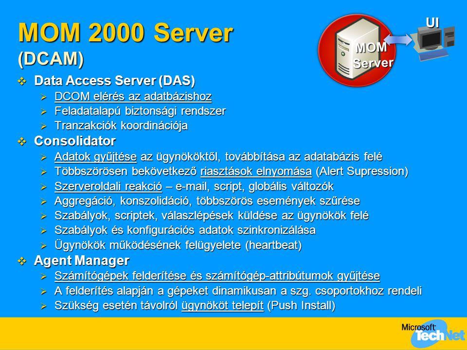 MOM 2000 Server (DCAM)  Data Access Server (DAS)  DCOM elérés az adatbázishoz  Feladatalapú biztonsági rendszer  Tranzakciók koordinációja  Consolidator  Adatok gyűjtése az ügynököktől, továbbítása az adatabázis felé  Többszörösen bekövetkező riasztások elnyomása (Alert Supression)  Szerveroldali reakció – e-mail, script, globális változók  Aggregáció, konszolidáció, többszörös események szűrése  Szabályok, scriptek, válaszlépések küldése az ügynökök felé  Szabályok és konfigurációs adatok szinkronizálása  Ügynökök működésének felügyelete (heartbeat)  Agent Manager  Számítógépek felderítése és számítógép-attribútumok gyűjtése  A felderítés alapján a gépeket dinamikusan a szg.