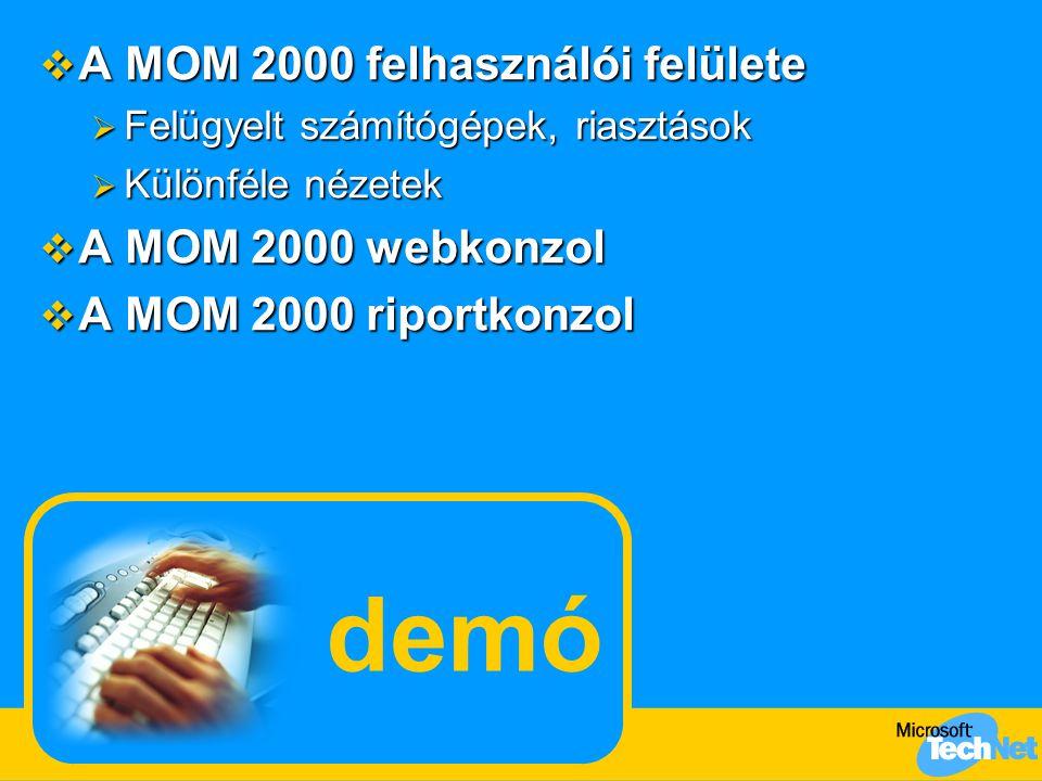 demó  A MOM 2000 felhasználói felülete  Felügyelt számítógépek, riasztások  Különféle nézetek  A MOM 2000 webkonzol  A MOM 2000 riportkonzol
