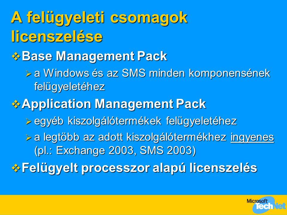 A felügyeleti csomagok licenszelése  Base Management Pack  a Windows és az SMS minden komponensének felügyeletéhez  Application Management Pack  egyéb kiszolgálótermékek felügyeletéhez  a legtöbb az adott kiszolgálótermékhez ingyenes (pl.: Exchange 2003, SMS 2003)  Felügyelt processzor alapú licenszelés