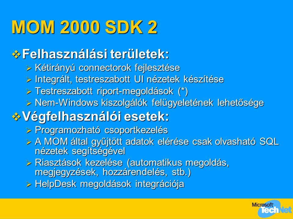 MOM 2000 SDK 2  Felhasználási területek:  Kétirányú connectorok fejlesztése  Integrált, testreszabott UI nézetek készítése  Testreszabott riport-megoldások (*)  Nem-Windows kiszolgálók felügyeletének lehetősége  Végfelhasználói esetek:  Programozható csoportkezelés  A MOM által gyűjtött adatok elérése csak olvasható SQL nézetek segítségével  Riasztások kezelése (automatikus megoldás, megjegyzések, hozzárendelés, stb.)  HelpDesk megoldások integrációja