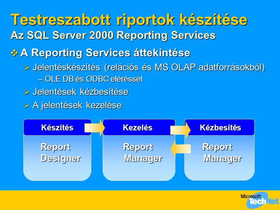 Testreszabott riportok készítése Az SQL Server 2000 Reporting Services  A Reporting Services áttekintése  Jelentéskészítés (relációs és MS OLAP adatforrásokból) –OLE DB és ODBC eléréssel  Jelentések kézbesítése  A jelentések kezelése KészítésKezelésKézbesítés Report Designer Report Manager
