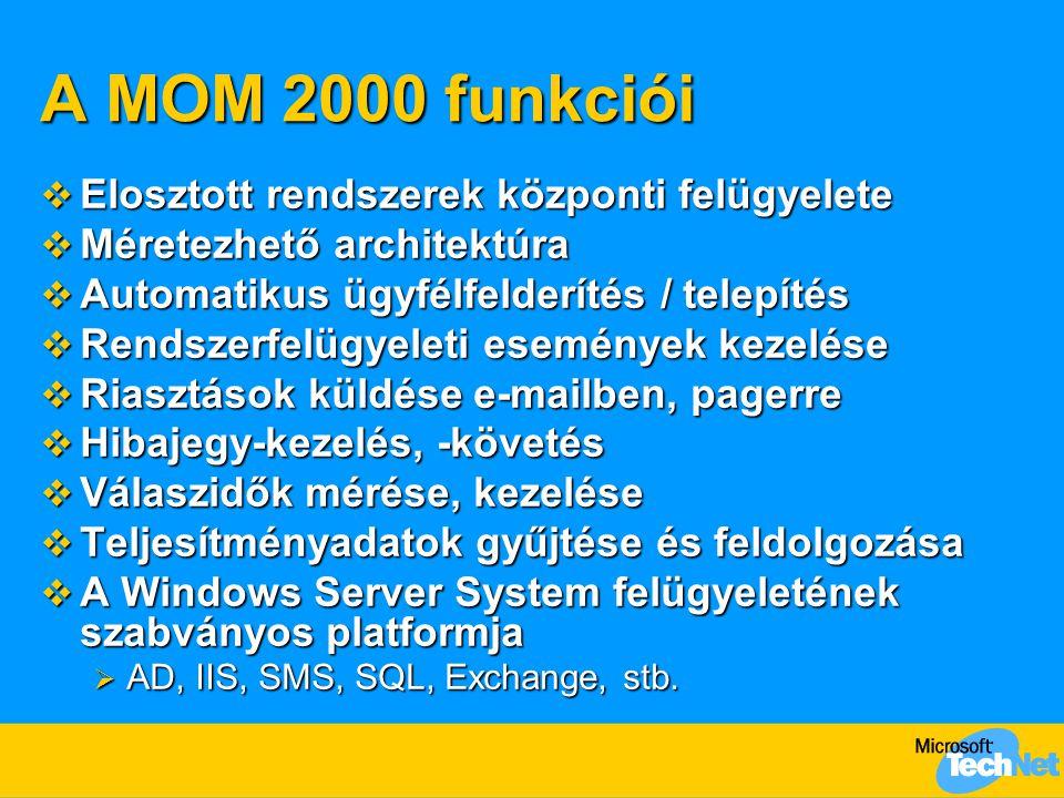 A MOM 2000 funkciói  Elosztott rendszerek központi felügyelete  Méretezhető architektúra  Automatikus ügyfélfelderítés / telepítés  Rendszerfelügyeleti események kezelése  Riasztások küldése e-mailben, pagerre  Hibajegy-kezelés, -követés  Válaszidők mérése, kezelése  Teljesítményadatok gyűjtése és feldolgozása  A Windows Server System felügyeletének szabványos platformja  AD, IIS, SMS, SQL, Exchange, stb.