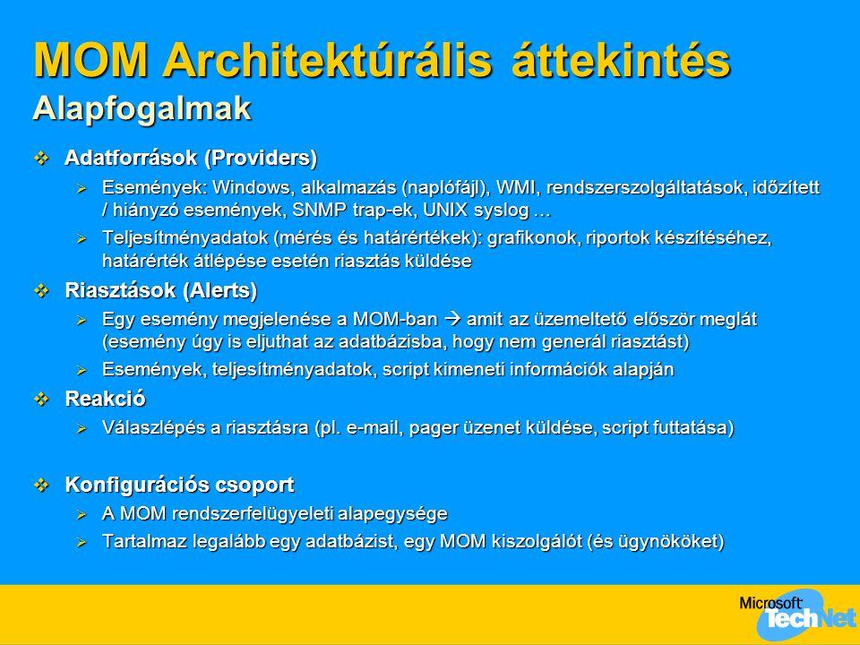 MOM Architektúrális áttekintés Alapfogalmak  Adatforrások (Providers)  Események: Windows, alkalmazás (naplófájl), WMI, rendszerszolgáltatások, időzített / hiányzó események, SNMP trap-ek, UNIX syslog …  Teljesítményadatok (mérés és határértékek): grafikonok, riportok készítéséhez, határérték átlépése esetén riasztás küldése  Riasztások (Alerts)  Egy esemény megjelenése a MOM-ban  amit az üzemeltető először meglát (esemény úgy is eljuthat az adatbázisba, hogy nem generál riasztást)  Események, teljesítményadatok, script kimeneti információk alapján  Reakció  Válaszlépés a riasztásra (pl.