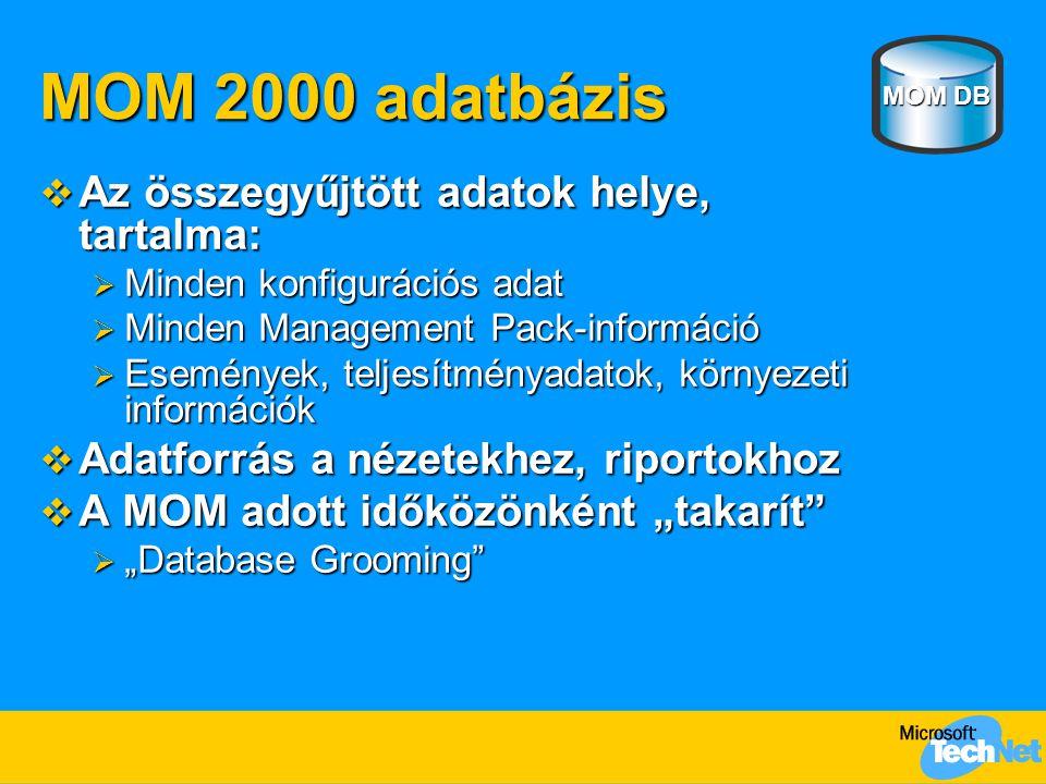 """MOM 2000 adatbázis  Az összegyűjtött adatok helye, tartalma:  Minden konfigurációs adat  Minden Management Pack-információ  Események, teljesítményadatok, környezeti információk  Adatforrás a nézetekhez, riportokhoz  A MOM adott időközönként """"takarít  """"Database Grooming MOM DB"""