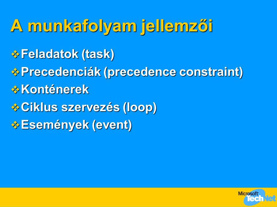 A munkafolyam jellemzői  Feladatok (task)  Precedenciák (precedence constraint)  Konténerek  Ciklus szervezés (loop)  Események (event)