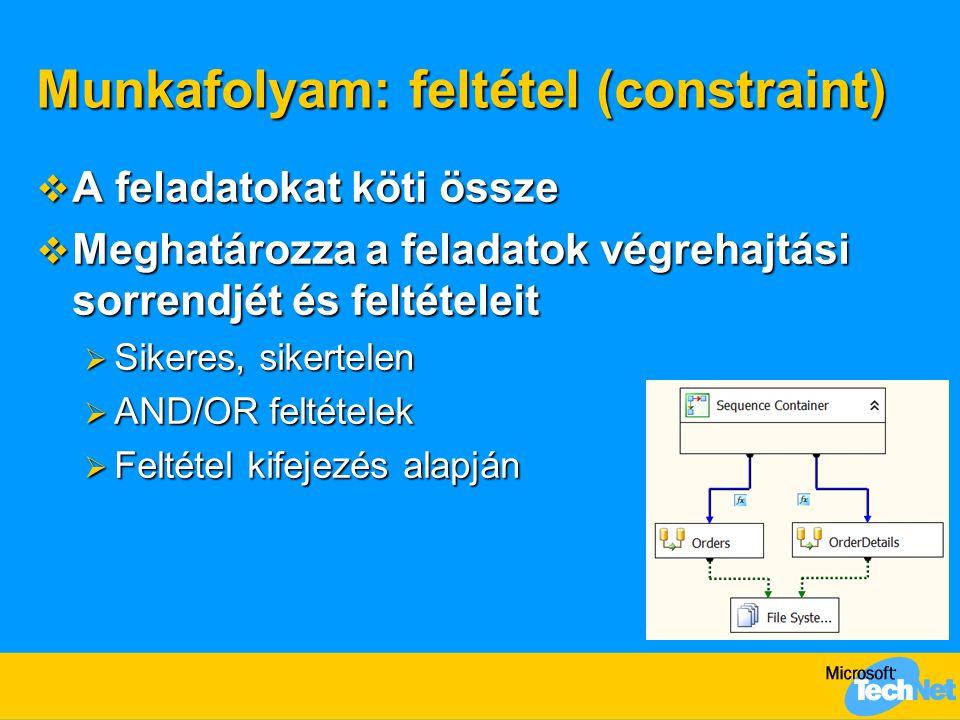 Munkafolyam: feltétel (constraint)  A feladatokat köti össze  Meghatározza a feladatok végrehajtási sorrendjét és feltételeit  Sikeres, sikertelen  AND/OR feltételek  Feltétel kifejezés alapján