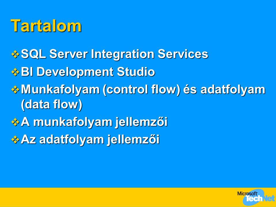 Tartalom  SQL Server Integration Services  BI Development Studio  Munkafolyam (control flow) és adatfolyam (data flow)  A munkafolyam jellemzői  Az adatfolyam jellemzői