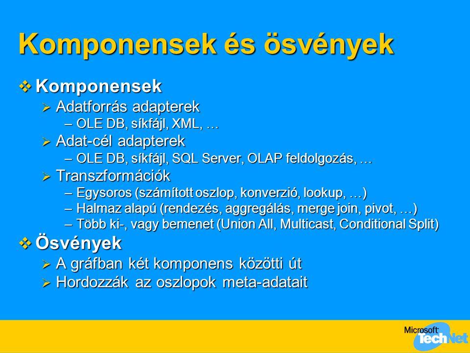 Komponensek és ösvények  Komponensek  Adatforrás adapterek –OLE DB, síkfájl, XML, …  Adat-cél adapterek –OLE DB, síkfájl, SQL Server, OLAP feldolgozás, …  Transzformációk –Egysoros (számított oszlop, konverzió, lookup, …) –Halmaz alapú (rendezés, aggregálás, merge join, pivot, …) –Több ki-, vagy bemenet (Union All, Multicast, Conditional Split)  Ösvények  A gráfban két komponens közötti út  Hordozzák az oszlopok meta-adatait