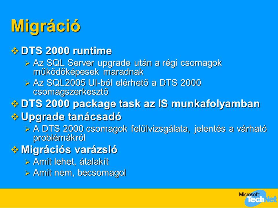 Migráció  DTS 2000 runtime  Az SQL Server upgrade után a régi csomagok működőképesek maradnak  Az SQL2005 UI-ból elérhető a DTS 2000 csomagszerkesztő  DTS 2000 package task az IS munkafolyamban  Upgrade tanácsadó  A DTS 2000 csomagok felülvizsgálata, jelentés a várható problémákról  Migrációs varázsló  Amit lehet, átalakít  Amit nem, becsomagol