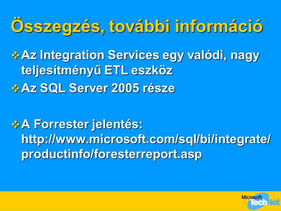 Összegzés, további információ  Az Integration Services egy valódi, nagy teljesítményű ETL eszköz  Az SQL Server 2005 része  A Forrester jelentés: http://www.microsoft.com/sql/bi/integrate/ productinfo/foresterreport.asp