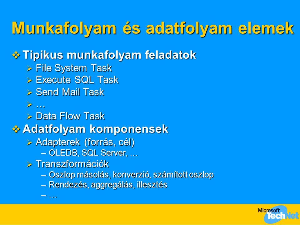 Munkafolyam és adatfolyam elemek  Tipikus munkafolyam feladatok  File System Task  Execute SQL Task  Send Mail Task  …  Data Flow Task  Adatfolyam komponensek  Adapterek (forrás, cél) –OLEDB, SQL Server, …  Transzformációk –Oszlop másolás, konverzió, számított oszlop –Rendezés, aggregálás, illesztés –…