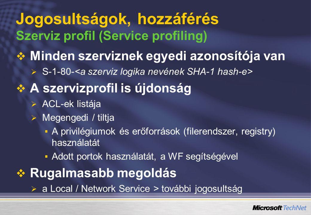 Jogosultságok, hozzáférés Szerviz profil (Service profiling)   Minden szerviznek egyedi azonosítója van   S-1-80-   A szervizprofil is újdonság