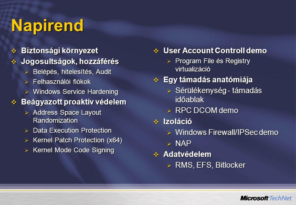 Napirend  Biztonsági környezet  Jogosultságok, hozzáférés  Belépés, hitelesítés, Audit  Felhasználói fiókok  Windows Service Hardening  Beágyazo
