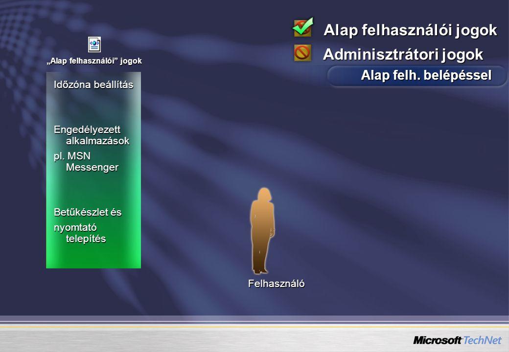 """Időzóna beállítás Engedélyezett alkalmazások pl. MSN Messenger Betűkészlet és nyomtató telepítés """"Alap felhasználói"""" jogok Felhasználó Alap felhasznál"""