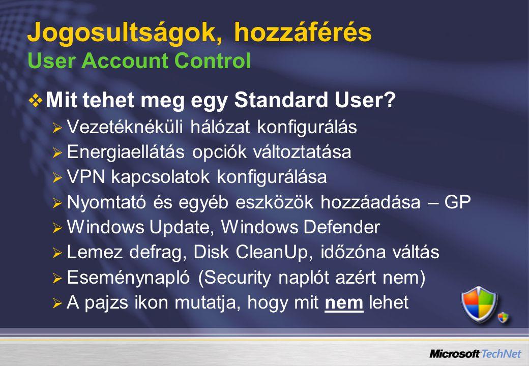   Mit tehet meg egy Standard User?   Vezetéknéküli hálózat konfigurálás   Energiaellátás opciók változtatása   VPN kapcsolatok konfigurálása 
