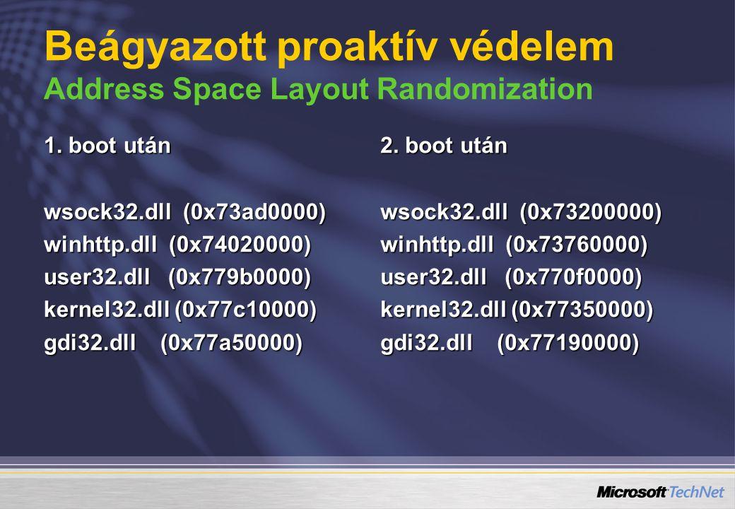 1. boot után wsock32.dll (0x73ad0000) winhttp.dll (0x74020000) user32.dll (0x779b0000) kernel32.dll (0x77c10000) gdi32.dll (0x77a50000) 2. boot után w