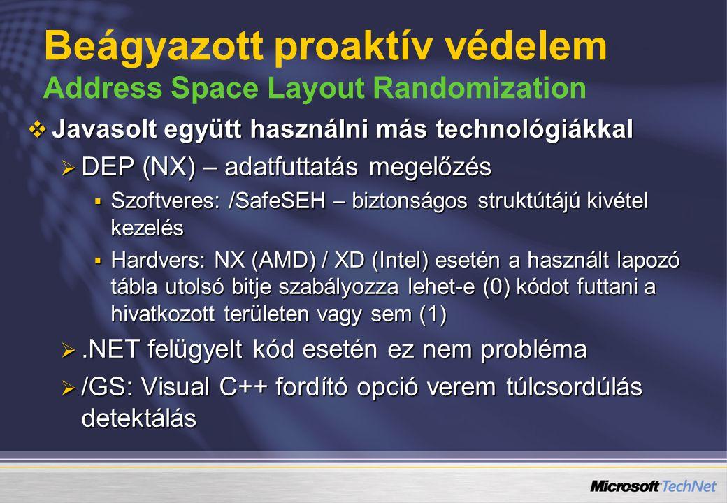  Javasolt együtt használni más technológiákkal  DEP (NX) – adatfuttatás megelőzés  Szoftveres: /SafeSEH – biztonságos struktútájú kivétel kezelés 