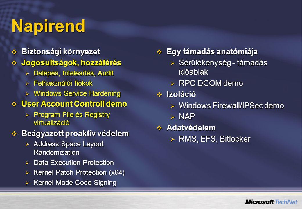  Javasolt együtt használni más technológiákkal  DEP (NX) – adatfuttatás megelőzés  Szoftveres: /SafeSEH – biztonságos struktútájú kivétel kezelés  Hardvers: NX (AMD) / XD (Intel) esetén a használt lapozó tábla utolsó bitje szabályozza lehet-e (0) kódot futtani a hivatkozott területen vagy sem (1) .NET felügyelt kód esetén ez nem probléma  /GS: Visual C++ fordító opció verem túlcsordúlás detektálás Beágyazott proaktív védelem Address Space Layout Randomization