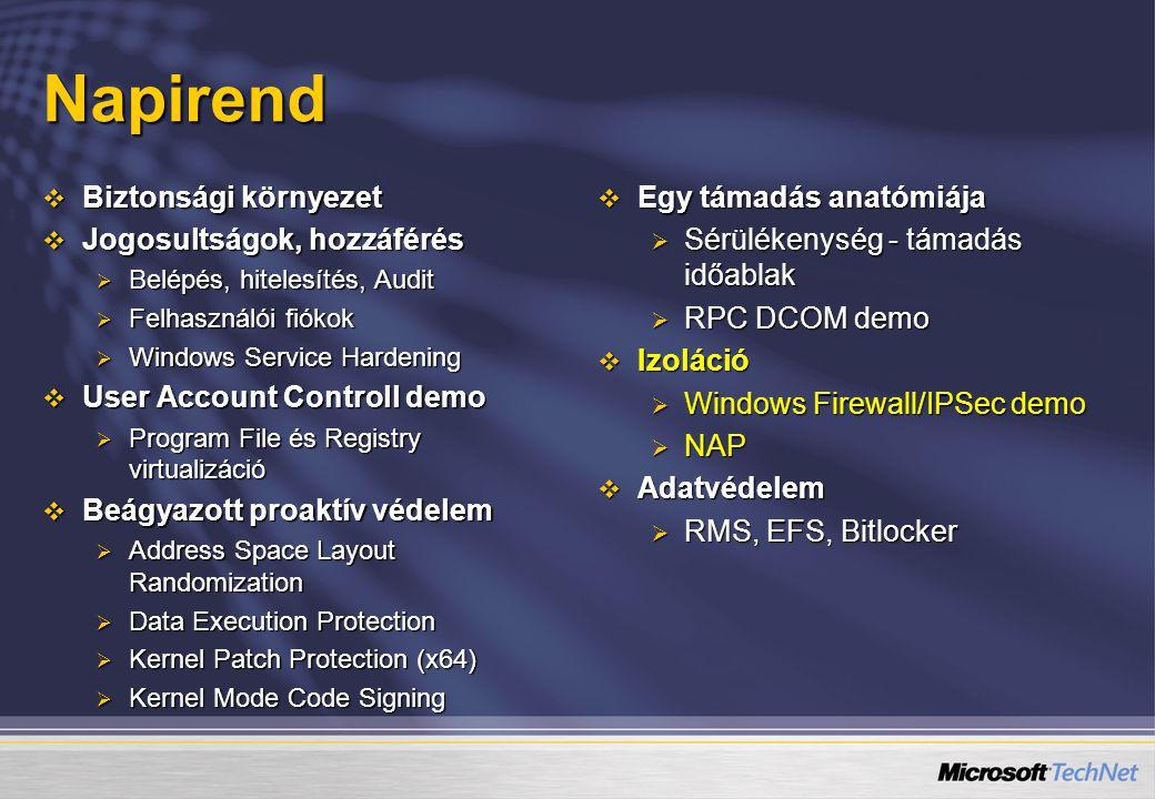 Napirend  Biztonsági környezet  Jogosultságok, hozzáférés  Belépés, hitelesítés, Audit  Felhasználói fiókok  Windows Service Hardening  User Acc