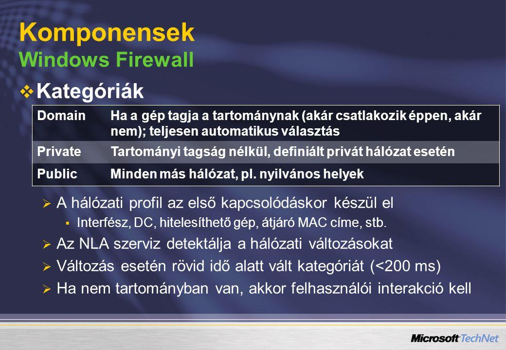   Kategóriák   A hálózati profil az első kapcsolódáskor készül el   Interfész, DC, hitelesíthető gép, átjáró MAC címe, stb.   Az NLA szerviz d