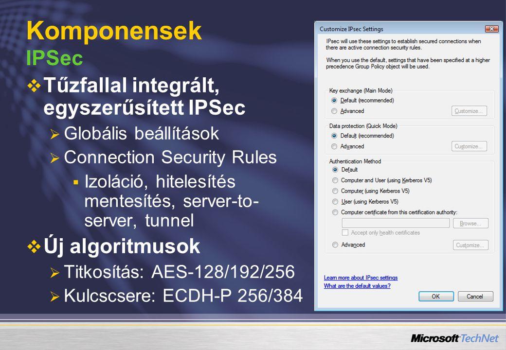   Tűzfallal integrált, egyszerűsített IPSec   Globális beállítások   Connection Security Rules   Izoláció, hitelesítés mentesítés, server-to-