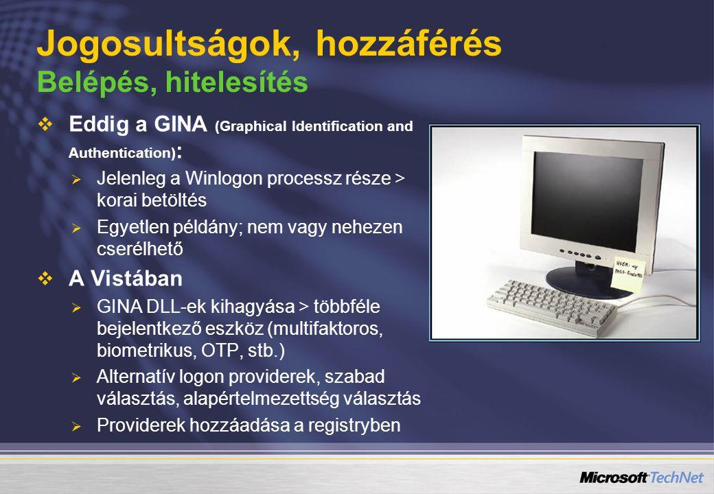 Jogosultságok, hozzáférés Belépés, hitelesítés   Eddig a GINA (Graphical Identification and Authentication) :   Jelenleg a Winlogon processz része