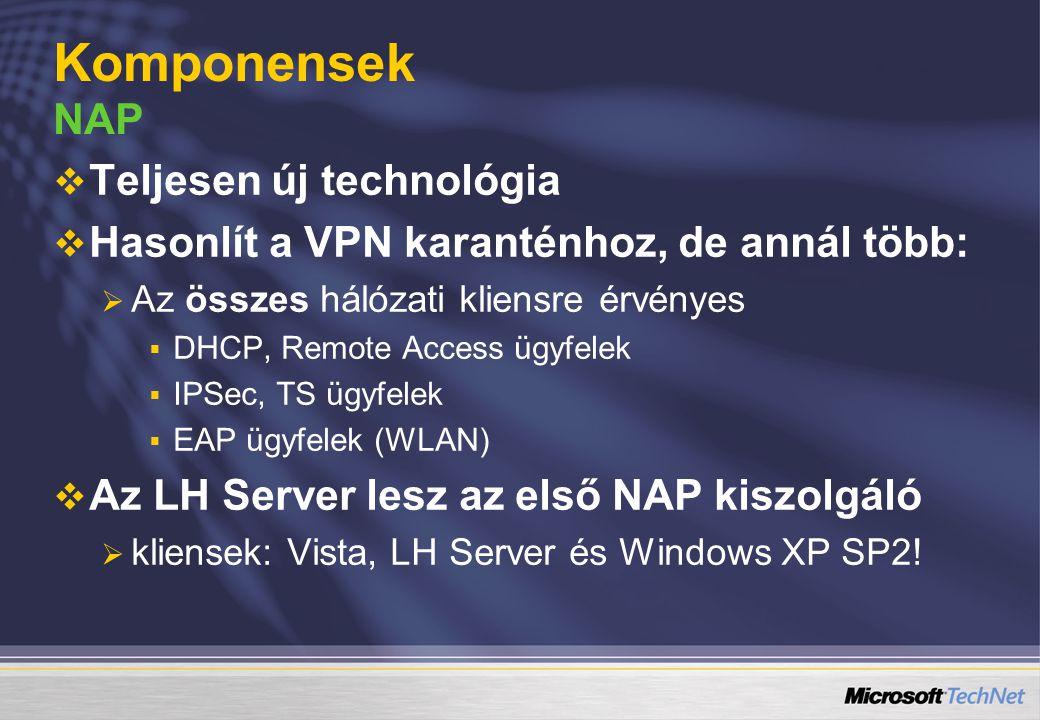   Teljesen új technológia   Hasonlít a VPN karanténhoz, de annál több:   Az összes hálózati kliensre érvényes   DHCP, Remote Access ügyfelek 