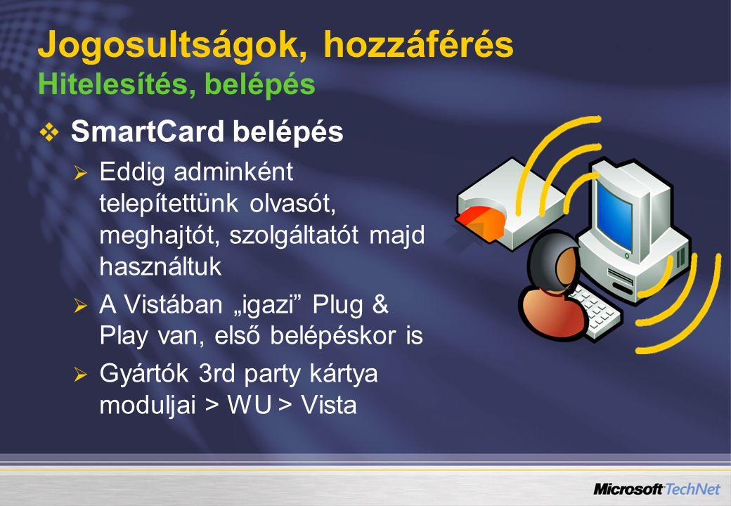 Jogosultságok, hozzáférés Hitelesítés, belépés   SmartCard belépés   Eddig adminként telepítettünk olvasót, meghajtót, szolgáltatót majd használtu