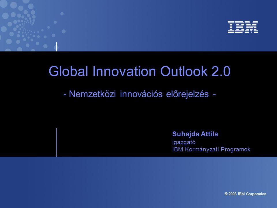 © 2006 IBM Corporation Global Innovation Outlook 2.0 - Nemzetközi innovációs előrejelzés - Suhajda Attila igazgató IBM Kormányzati Programok