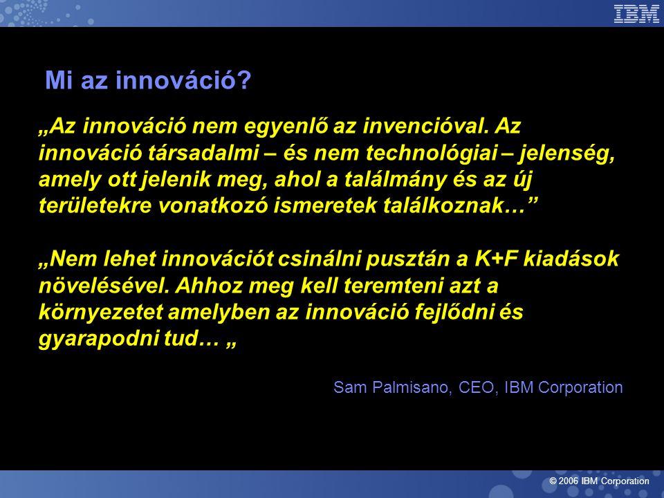 """© 2006 IBM Corporation Mi az innováció. """"Az innováció nem egyenlő az invencióval."""