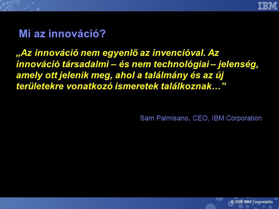 """© 2006 IBM Corporation Mi az innováció.""""Az innováció nem egyenlő az invencióval."""