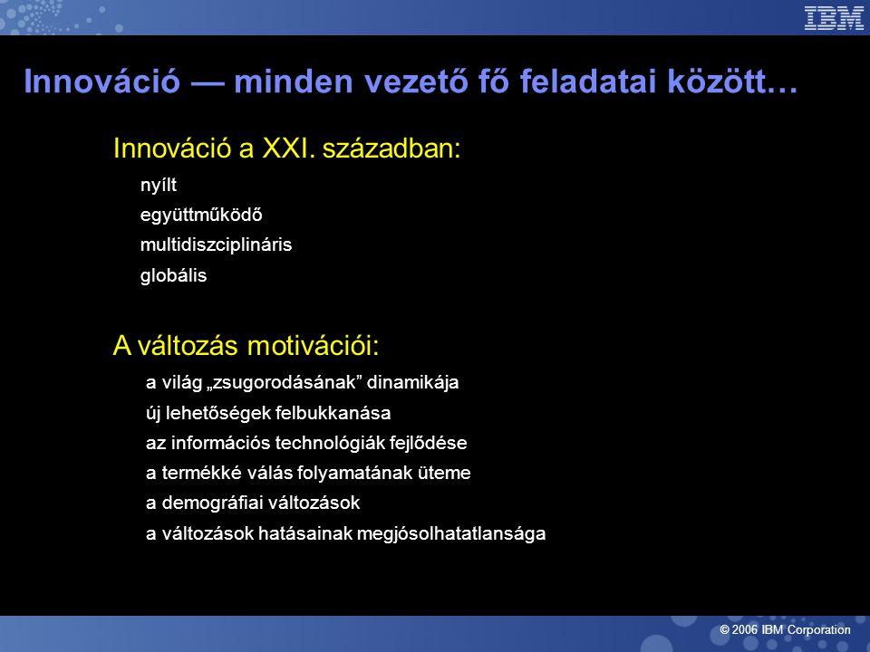 © 2006 IBM Corporation Innováció — minden vezető fő feladatai között…  Innováció a XXI.