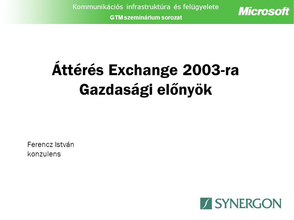"""Kommunikációs infrastruktúra és felügyelete GTM szeminárium sorozat Exchange 2003 telepítése új organizációba Külső migráció Exchange 2003 telepítése új organizációba Exchange 2003 bevezetés """"Új organizációként –Exchange 5.5 beállítások nem öröklődnek –Kiválasztott postafiókok mozgatása –Együttélés opcionális (plusz lépések, idő, pénz) Ki érdekelt?: Néhány Exchange 5.5 környezet –Több, bonyolult Exchange 5.5 Organizáció –Topológia változtatás szükséges Miért, vagy miért ne."""