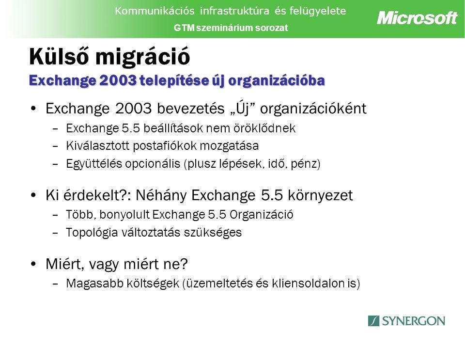 """Kommunikációs infrastruktúra és felügyelete GTM szeminárium sorozat Exchange 2003 telepítése új organizációba Külső migráció Exchange 2003 telepítése új organizációba Exchange 2003 bevezetés """"Új organizációként –Exchange 5.5 beállítások nem öröklődnek –Kiválasztott postafiókok mozgatása –Együttélés opcionális (plusz lépések, idő, pénz) Ki érdekelt : Néhány Exchange 5.5 környezet –Több, bonyolult Exchange 5.5 Organizáció –Topológia változtatás szükséges Miért, vagy miért ne."""