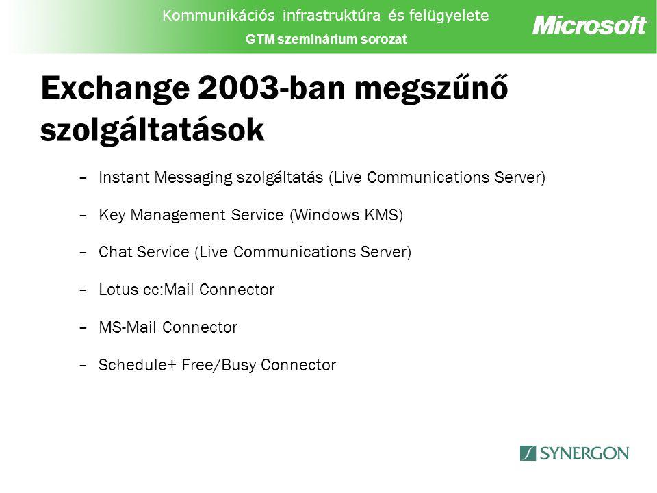 Kommunikációs infrastruktúra és felügyelete GTM szeminárium sorozat Exchange 2003-ban megszűnő szolgáltatások –Instant Messaging szolgáltatás (Live Communications Server) –Key Management Service (Windows KMS) –Chat Service (Live Communications Server) –Lotus cc:Mail Connector –MS-Mail Connector –Schedule+ Free/Busy Connector