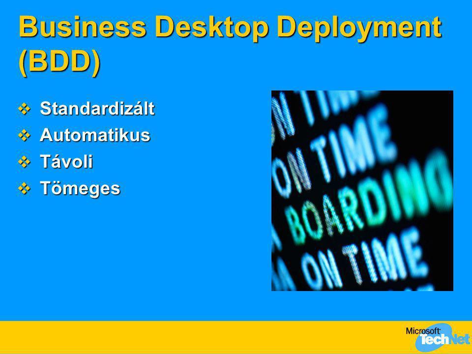 Business Desktop Deployment (BDD)  Standardizált  Automatikus  Távoli  Tömeges