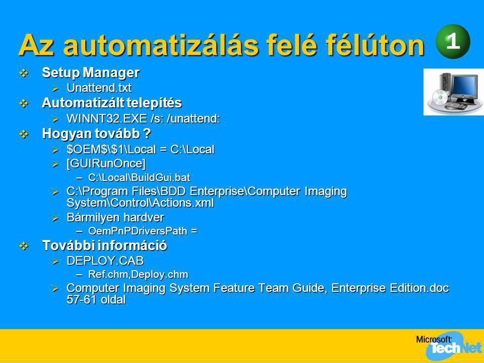 Az automatizálás felé félúton  Setup Manager  Unattend.txt  Automatizált telepítés  WINNT32.EXE /s: /unattend:  Hogyan tovább ?  $OEM$\$1\Local