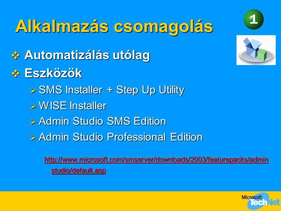 Alkalmazás csomagolás Alkalmazás csomagolás  Automatizálás utólag  Eszközök  SMS Installer + Step Up Utility  WISE Installer  Admin Studio SMS Ed