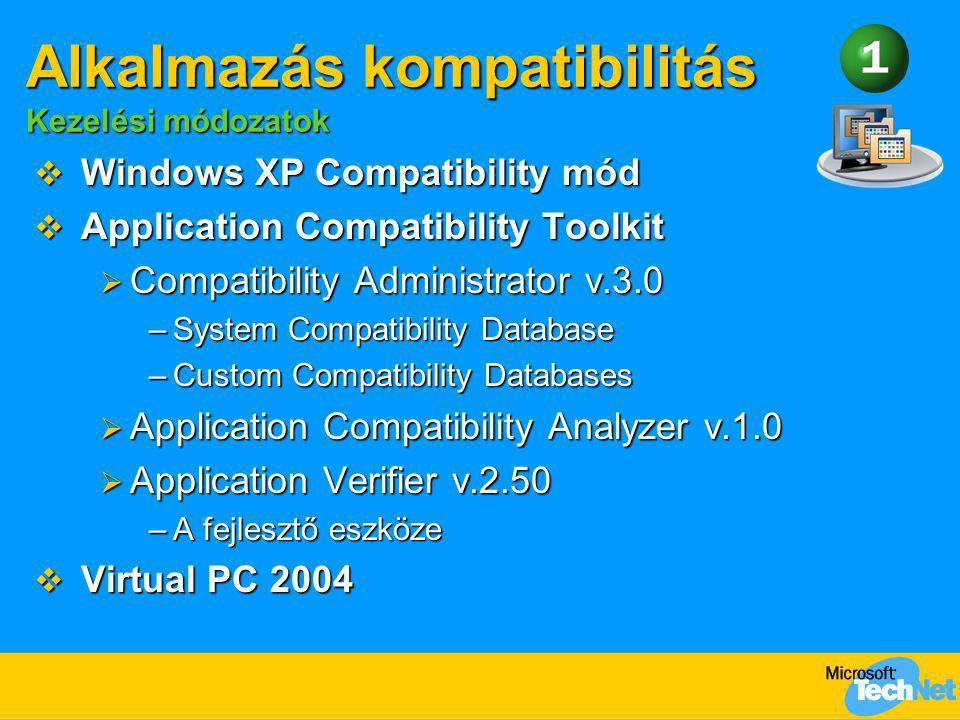  Windows XP Compatibility mód  Application Compatibility Toolkit  Compatibility Administrator v.3.0 –System Compatibility Database –Custom Compatib