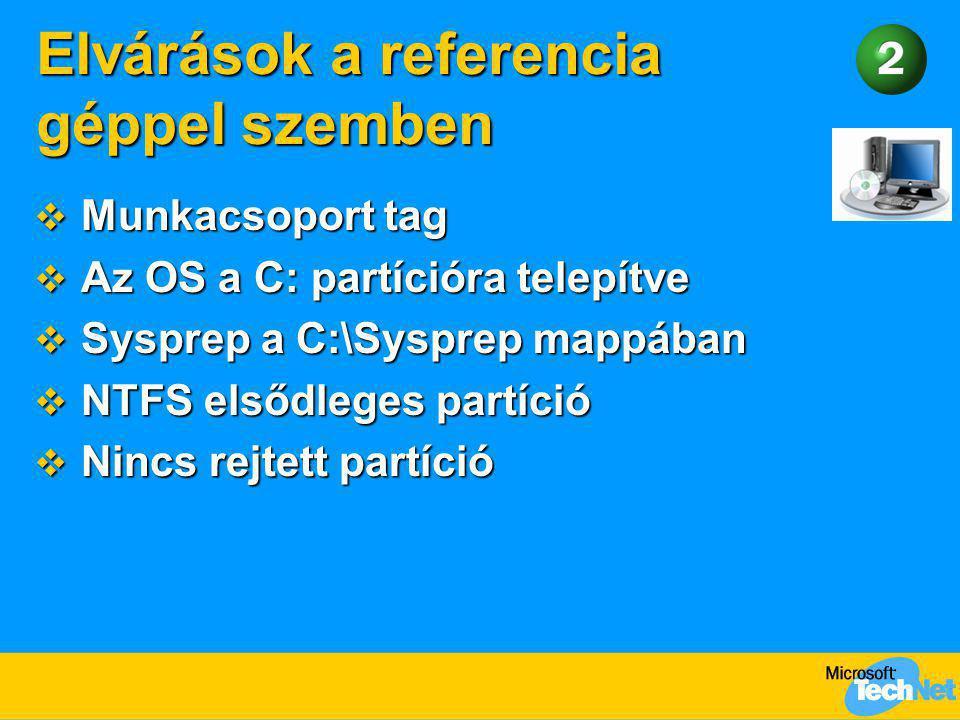 Elvárások a referencia géppel szemben  Munkacsoport tag  Az OS a C: partícióra telepítve  Sysprep a C:\Sysprep mappában  NTFS elsődleges partíció