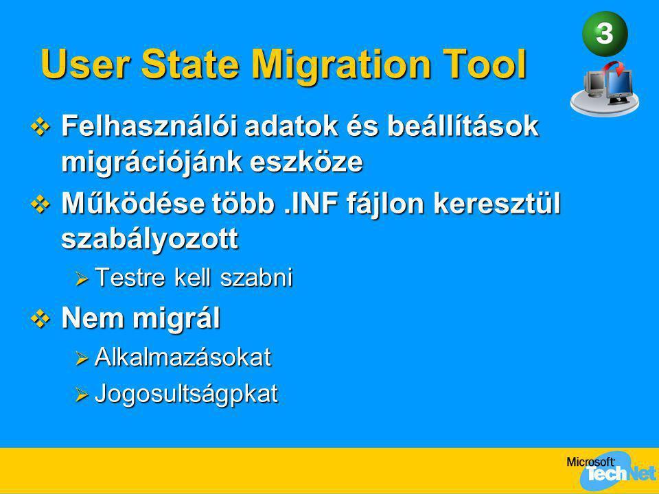 User State Migration Tool  Felhasználói adatok és beállítások migrációjánk eszköze  Működése több.INF fájlon keresztül szabályozott  Testre kell sz