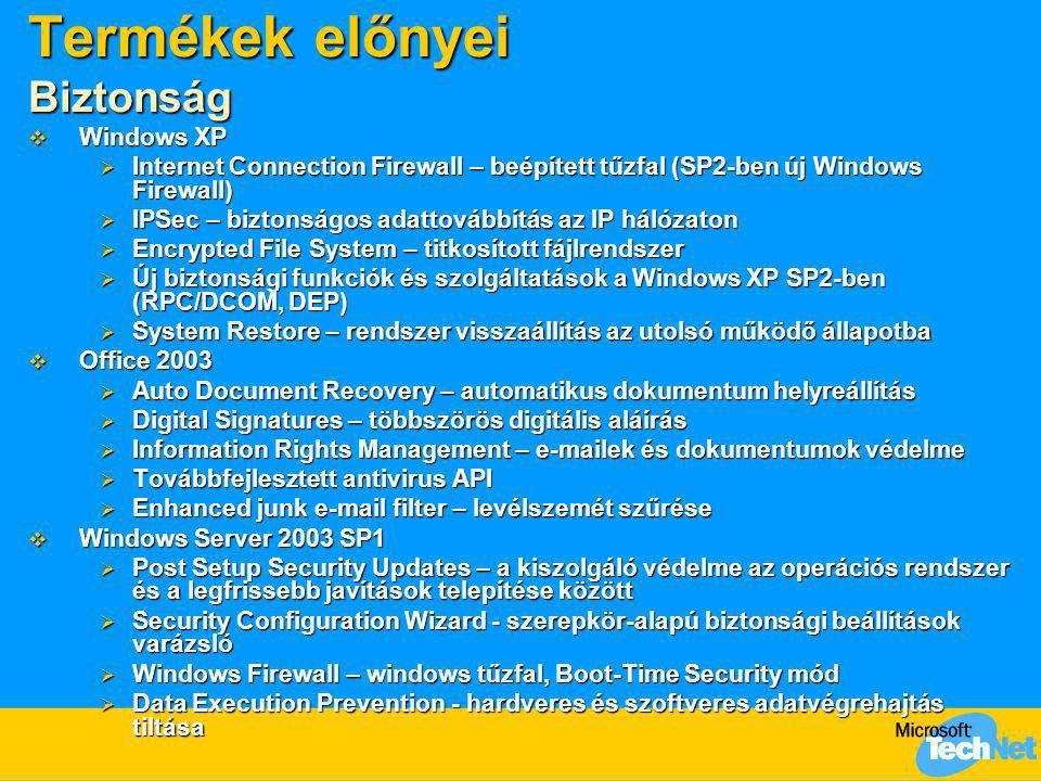 Termékek előnyei Biztonság  Windows XP  Internet Connection Firewall – beépített tűzfal (SP2-ben új Windows Firewall)  IPSec – biztonságos adattová