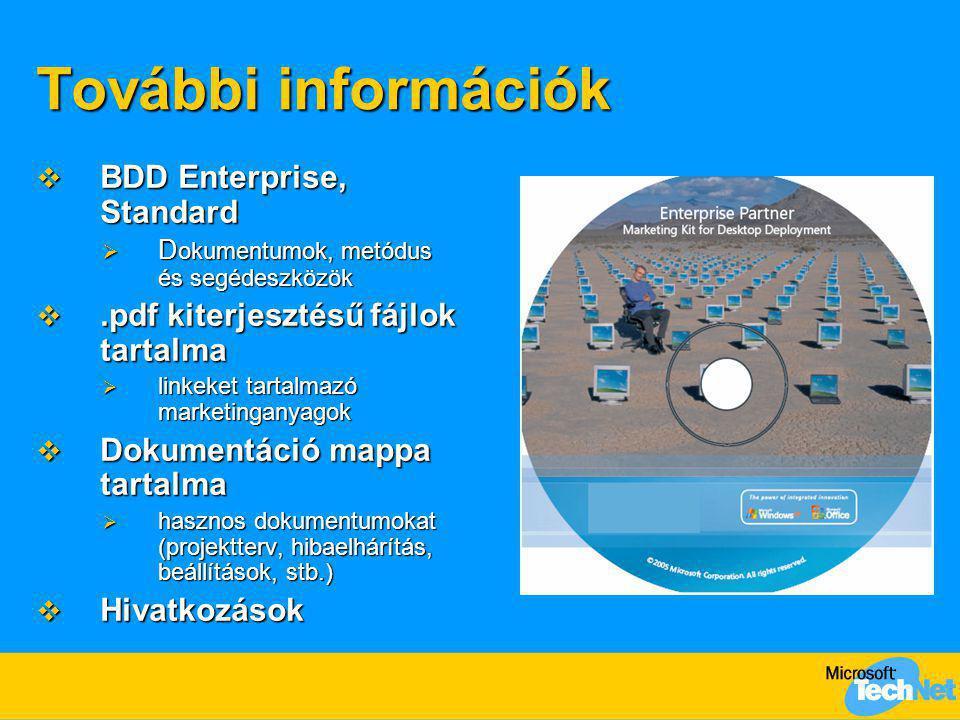 További információk  BDD Enterprise, Standard  D okumentumok, metódus és segédeszközök .pdf kiterjesztésű fájlok tartalma  linkeket tartalmazó mar