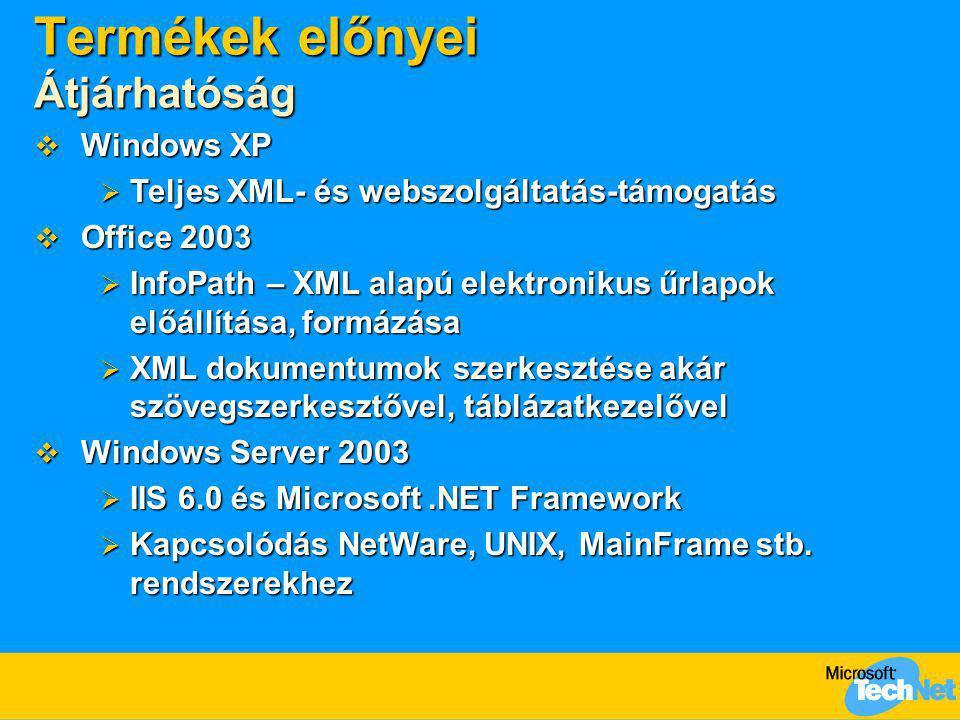 Termékek előnyei Átjárhatóság  Windows XP  Teljes XML- és webszolgáltatás-támogatás  Office 2003  InfoPath – XML alapú elektronikus űrlapok előáll