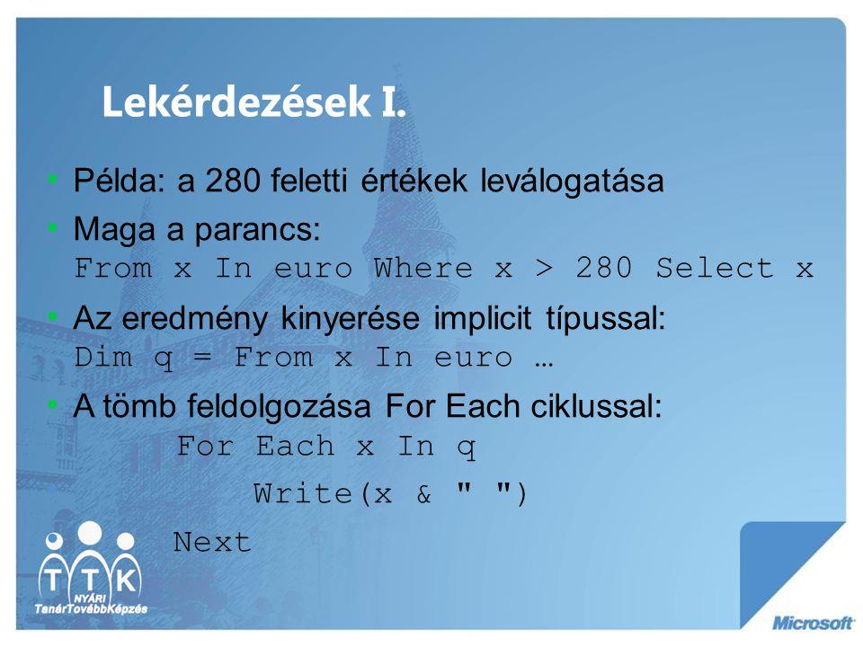 Lekérdezések II.
