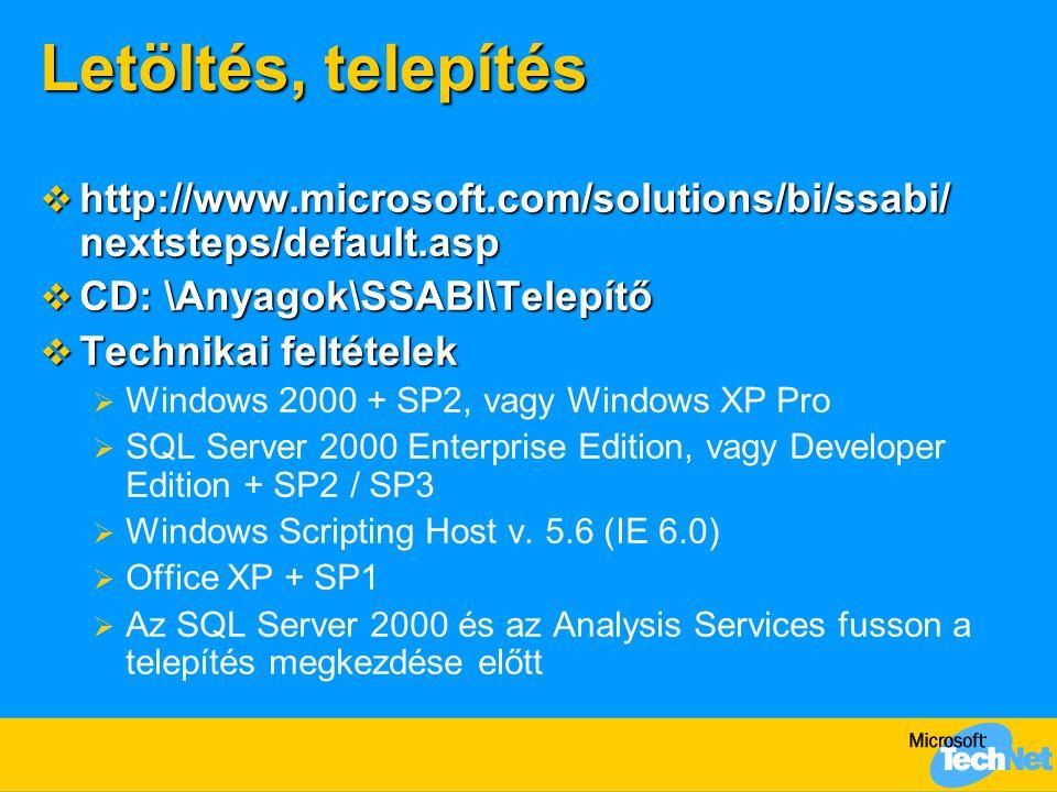 Letöltés, telepítés  http://www.microsoft.com/solutions/bi/ssabi/ nextsteps/default.asp  CD: \Anyagok\SSABI\Telepítő  Technikai feltételek  Windows 2000 + SP2, vagy Windows XP Pro  SQL Server 2000 Enterprise Edition, vagy Developer Edition + SP2 / SP3  Windows Scripting Host v.