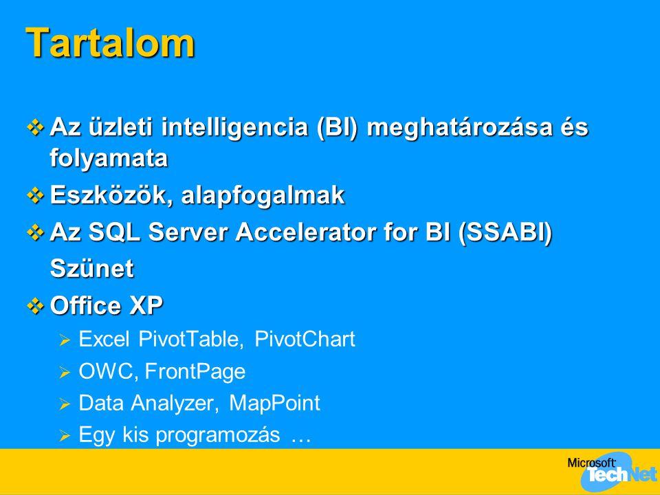 Tartalom  Az üzleti intelligencia (BI) meghatározása és folyamata  Eszközök, alapfogalmak  Az SQL Server Accelerator for BI (SSABI) Szünet  Office XP  Excel PivotTable, PivotChart  OWC, FrontPage  Data Analyzer, MapPoint  Egy kis programozás …