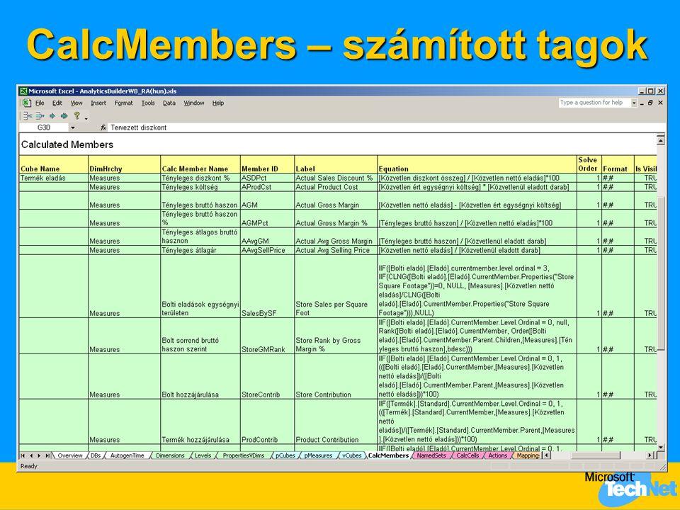 CalcMembers – számított tagok